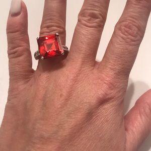 Orange Cocktail Ring, Size 7